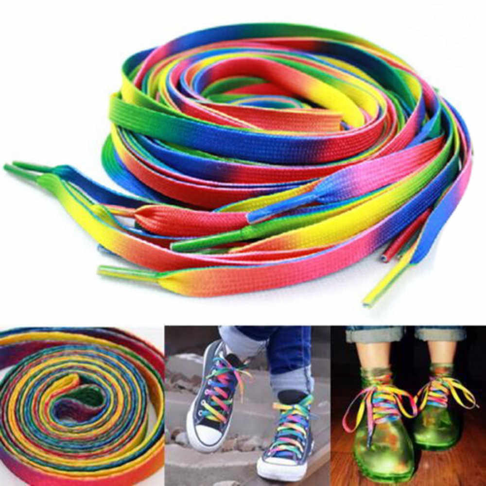 d9ce55576f 1 Pairs Rainbow Flat Rope Canvas Athletic Shoelace Sport Sneaker Shoe Laces  Strings