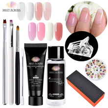 MEET ACROSS 9 pcs/ set Poly Nail Gel Kits Uv Nails Art ManicureTips Build Extending Crystal Jelly Gum