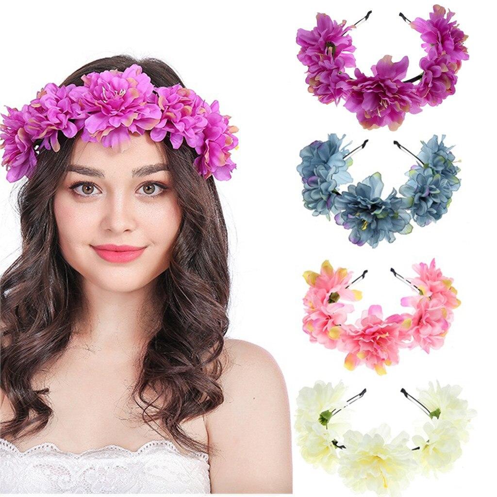 2019 Nieuwe Boho Dames Bloemen Flower Festival Wedding Garland Haar Hoofd Band Beach Party Haar Krans Voor Bruiloft Decoratie Ve7