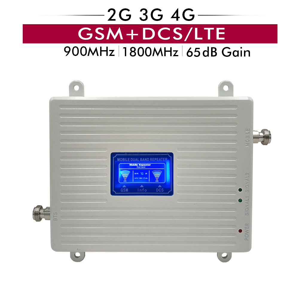 65dB Gain Dual Band Booster LCD Display 2G 3G GSM 900+4G LTE DCS 1800 Band 3 Cellphone Signal Repeater Cellular Signal Amplifier