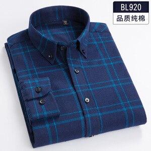 Image 2 - Plus size 5XL 6XL 7XL 8XL 100% Cotton Plaid Fannel Thick Long Sleeve Men Shirt Fat Guy Fashion Autumn/Winter Clothes 120kg 130kg