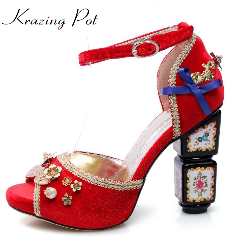 2017 Krazing Pot Luxury bowtie flowers matal fasteners pearl ankle straps peep toe women sandals pattern high heels shoes L27 flowers butterflies pattern waterproof shower curtain