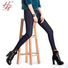 H06 2015 зима высокой талией джинсы женские теплые брюки джинсовые синий тощий зимние брюки женские
