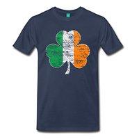 2017 New Arrival Vintage Irish Flag Shamrock Men S Premium T Shirt 100 Cotton Male O