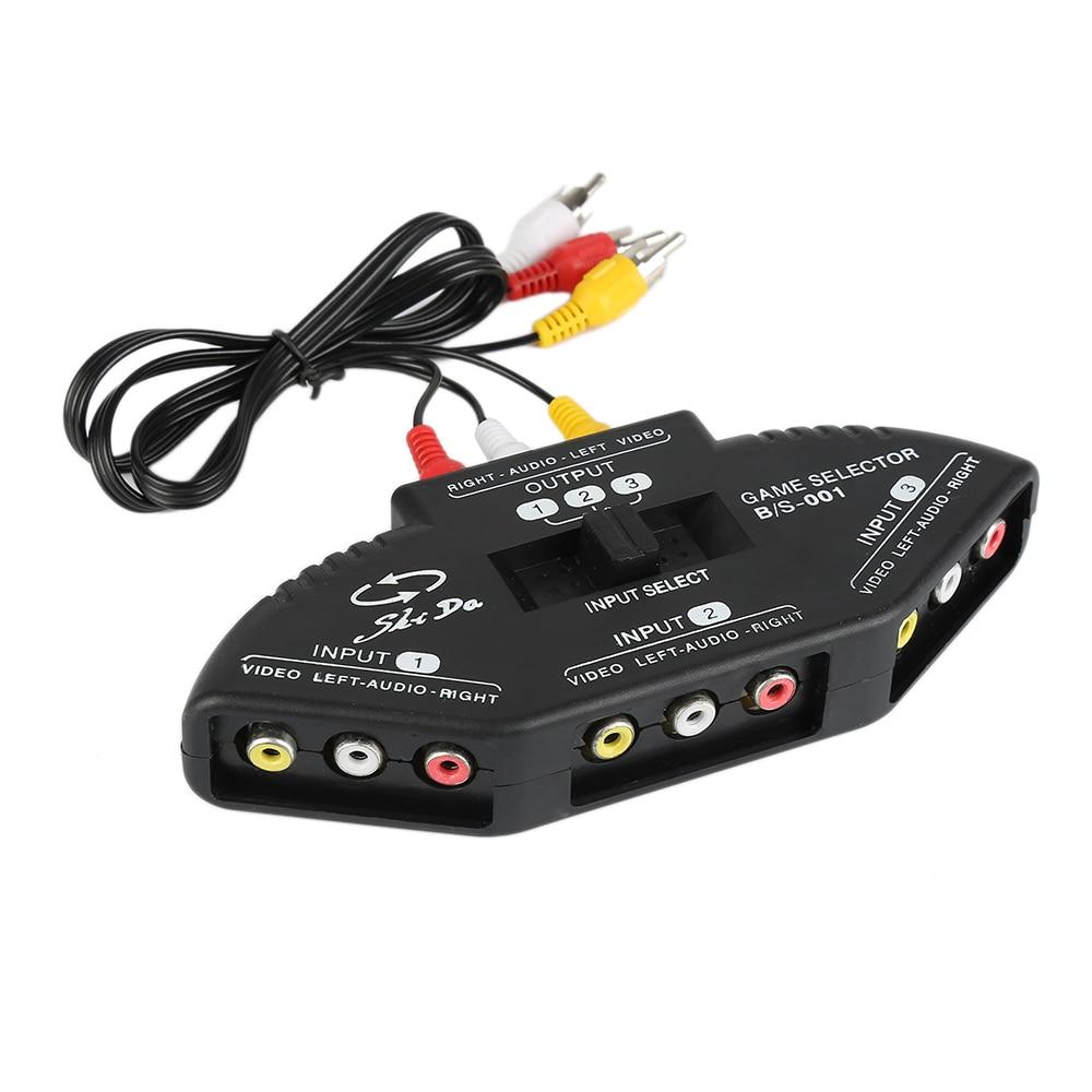New 3 Way Audio Video AV Switch Box RCA Black Switch Selector Box ...