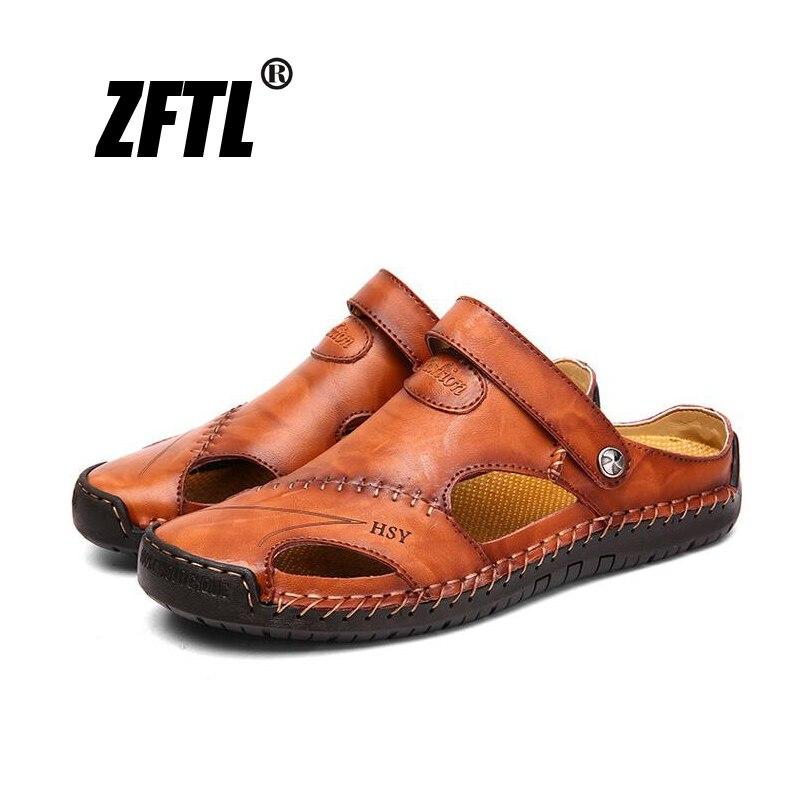 Zftl novos homens sandálias chinelos verão homem casual sapatos de praia grande tamanho 38-48 couro genuíno lazer homem sandálias chinelos 58