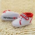 0-18 m nueva lindo en forma de corazón te amo mamá y papá del bebé lovely baby shoes chicas inferior suave calzado zapatos de bebé recién nacido