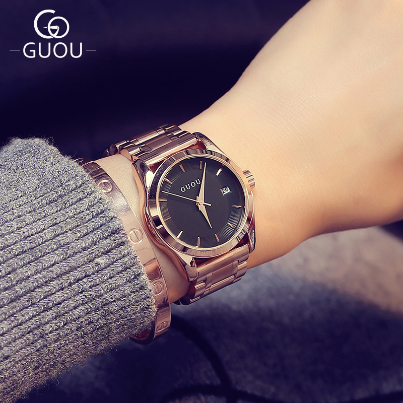 GUOU Hong Kong Brand Woman Quartz Watches Full Rose Gold Steel band Business Casual Lady Clock Wristwatches Gift Montre Femme sony fdr ax33 black