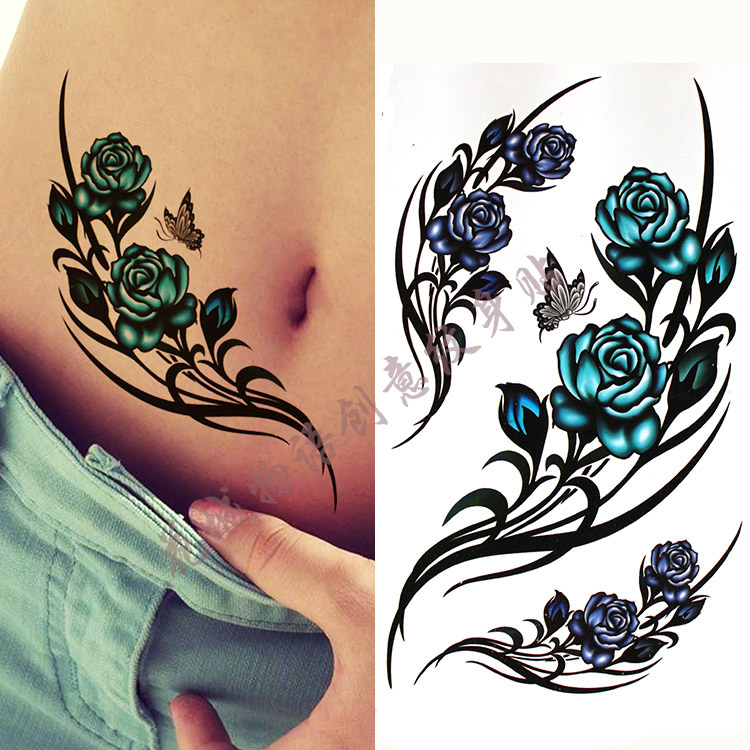 Tattoo & Körperkunst Temporäre Tattoos SchöN Bunte Große Bluerose Blume Körper Kunst Wasserdicht Sexy Fake Tattoo Für Frau-temporarytattoo Aufkleber 10*20 Cm Kd341