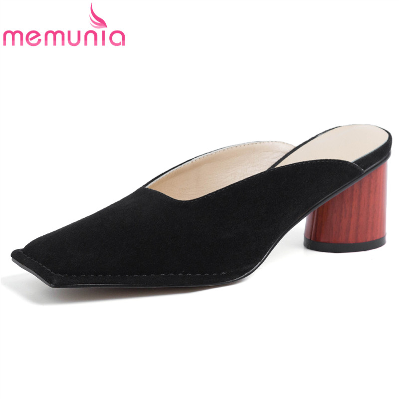 MEMUNIA 2019 New women pumps high quality sheepskin suede leather mules wonan slingback ladies shoes med