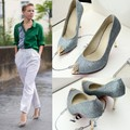 2015, banquet hosted gold silver wedding shoes sequins stiletto heel shoes single, large and small size 33-43
