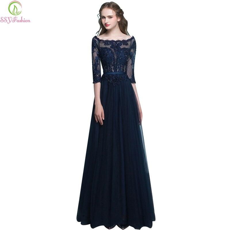Ssyfashion Long Sleeve Wedding Dresses The Bride Elegant: SSYFashion Long Evening Dress Bride Banquet Elegant 3/4