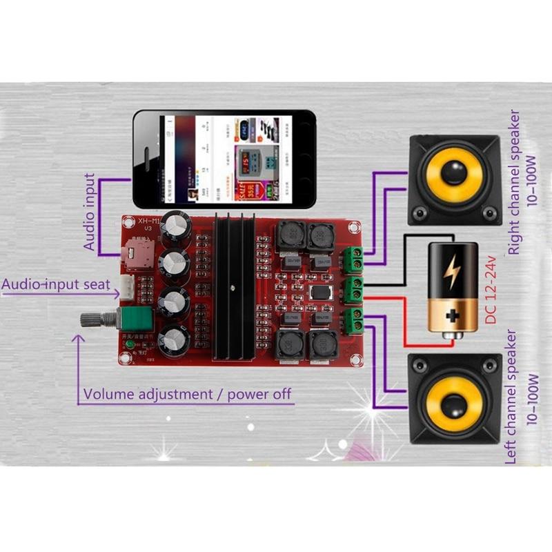 2x 100 W 2 Kanal Digital Verstärker Audio Board Dual-Kanal 12 zu 24 v Audio Verstärker board DIY Modul für Arduino TPA3116D2