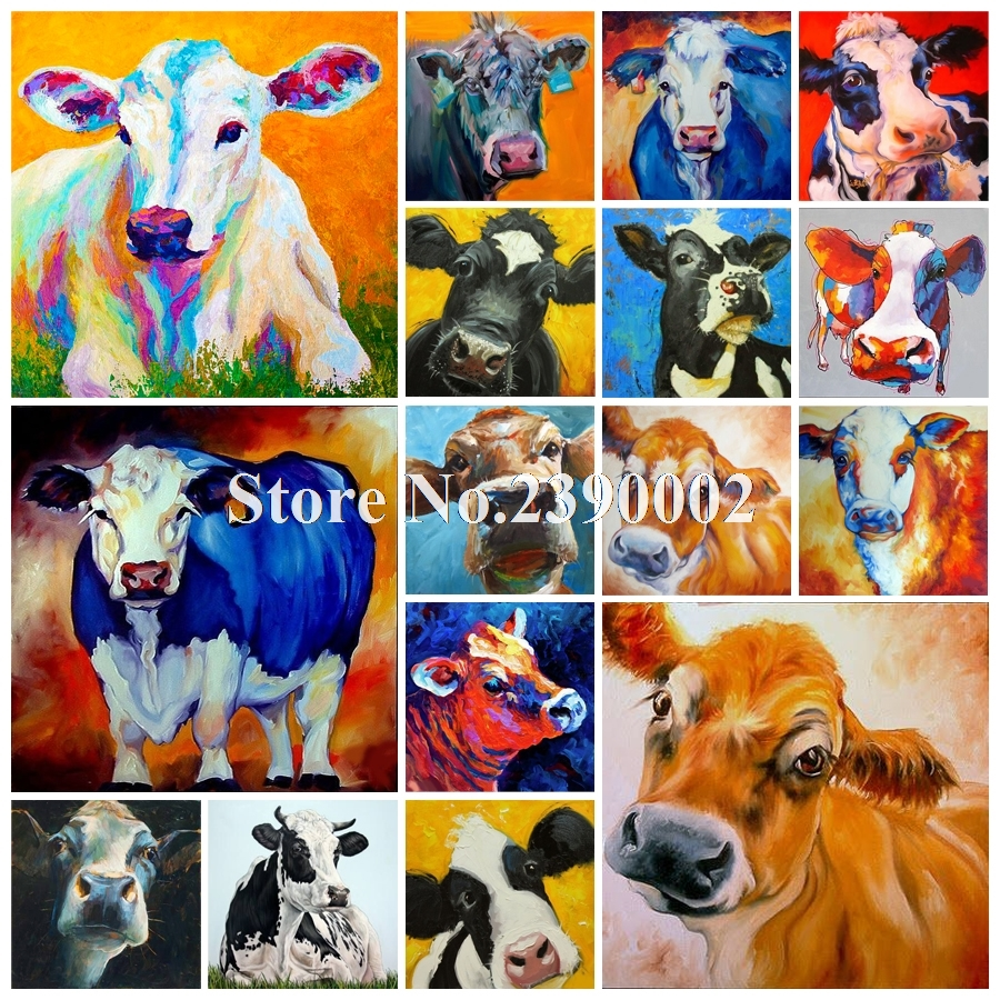 Diamond Painting 5D DIY Mosaic Color Cow Animals Flowers Cross Stitch Needlework