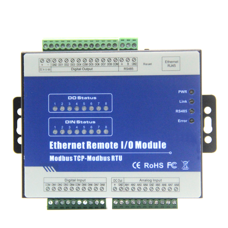 Ethernet Modbus RTU with Rs485 Modbus TCP Converters 8 isolated Analog inputs 8 Relay ou ...