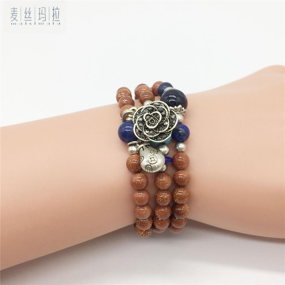 Bracelet Women Jewelry Handmade Diy Brand Jewelry Yellow Stone Bead Patterns Match Multi Color Stone Bead Thai Silver Flower