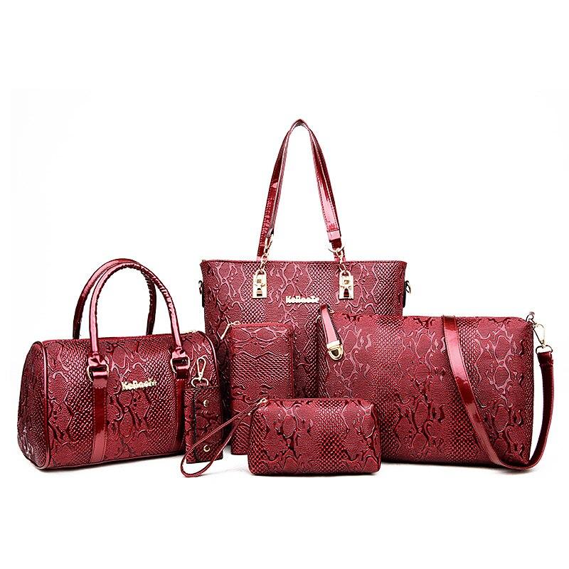 Бренды Высокое качество Змеиный узор из искусственной кожи для женщин Tote + плечо/сумка мессенджер клатч композитный сумки 6 шт. компл