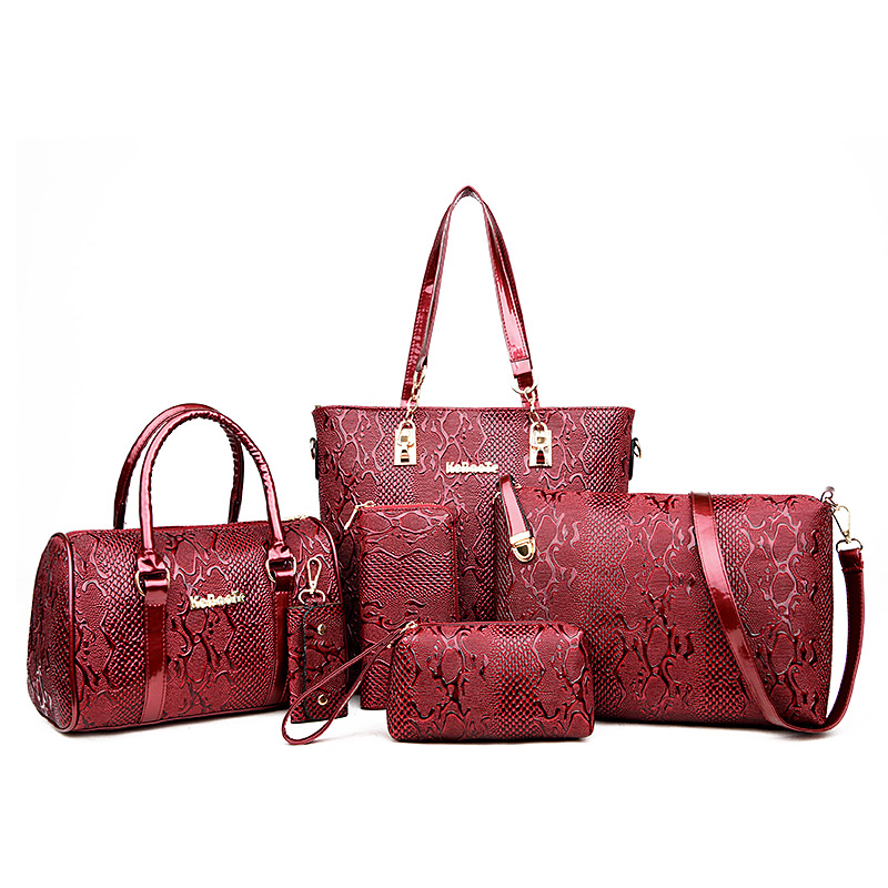 ФОТО Brands High Quality Serpentine Pattern PU Leather Women Tote+Shoulder/Messenger+Clutch Composite Bags 6 Pieces Sets Bolsos Mujer