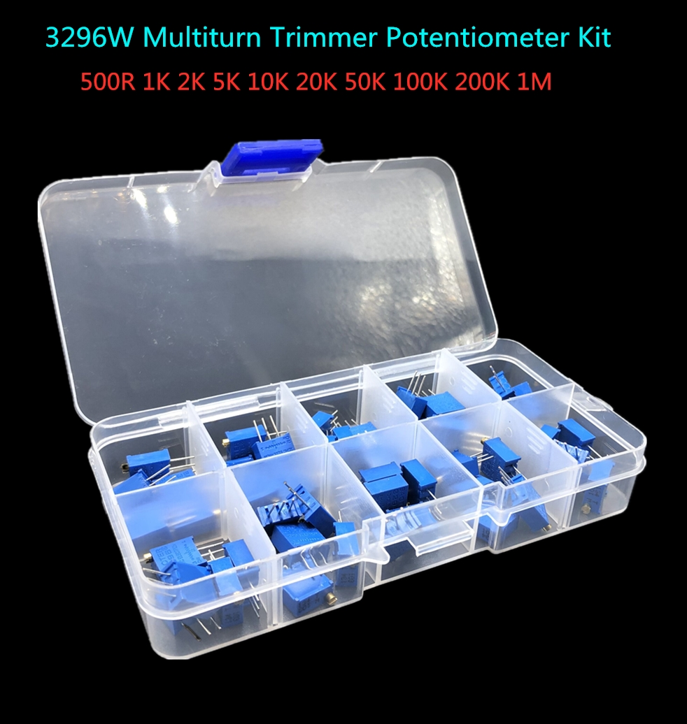 3296W 10valueX5pcs=50pcs Multiturn Trimmer Potentiometer Kit 3296 Variable Resistor 500R 1K 2K 5K 10K 20K 50K 100K 200K 1M