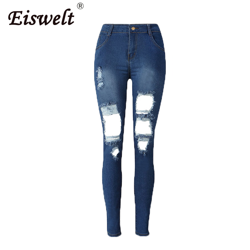 Fashion Casual Women Vintage High Waist Skinny Denim Jeans Slim Ripped Pencil Pants Jeans Hole Women Female flare Girls Trousers