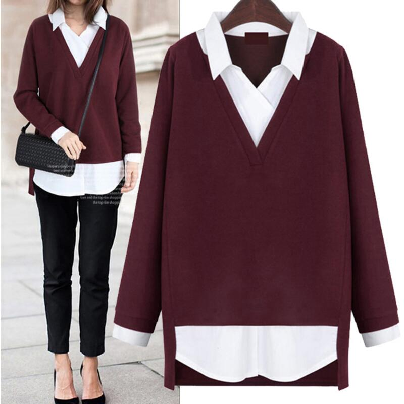 Blusas Mujer New 2018 Autumn Winter Women Blosues Loose Fake Two Pieces Knitted Shirt Wo ...
