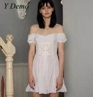 2018 Sweet Lace Women's Mini Dress Lolita Style White Off The Shoulder Summer Dress