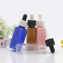 30ml Square e liquid PET Plastic Dropper Bottle 1oz Clear Amber Green Clear White Dropper Containers for Essential Oil Use