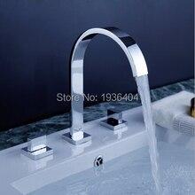 Dual-ручки хром латунь краны высокое качество ванной ванна Torneira горячей и холодной кран 1145C