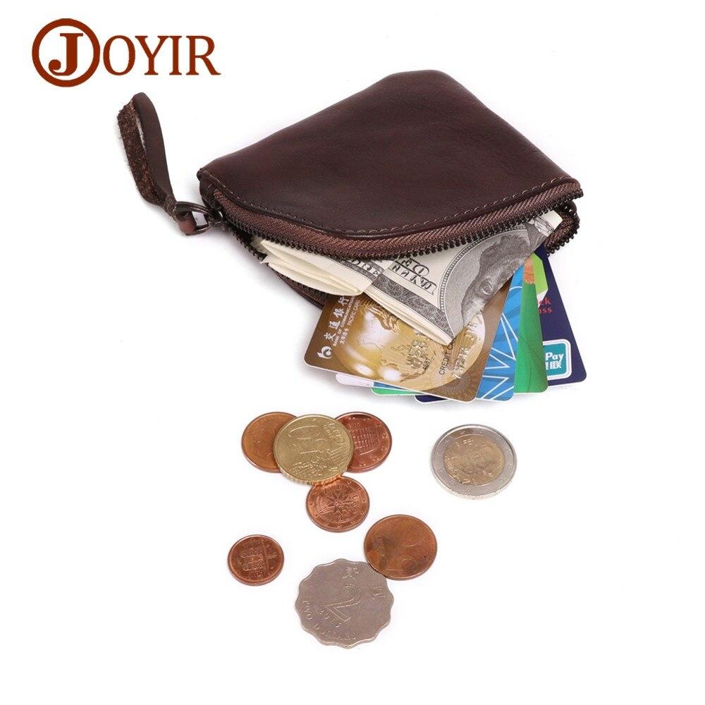 JOYIR Vintage Genuine Leather Coin Purse Men Woman Genuine Cowhide Small Mini Wallets Credit Cards Storage Pocket Bag For Men
