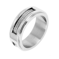 CA 63 316L High Quality Men Epoxy Titanium Stainless Ring Lover Couple Rings for Women Men Silver Vintage Cool Rings