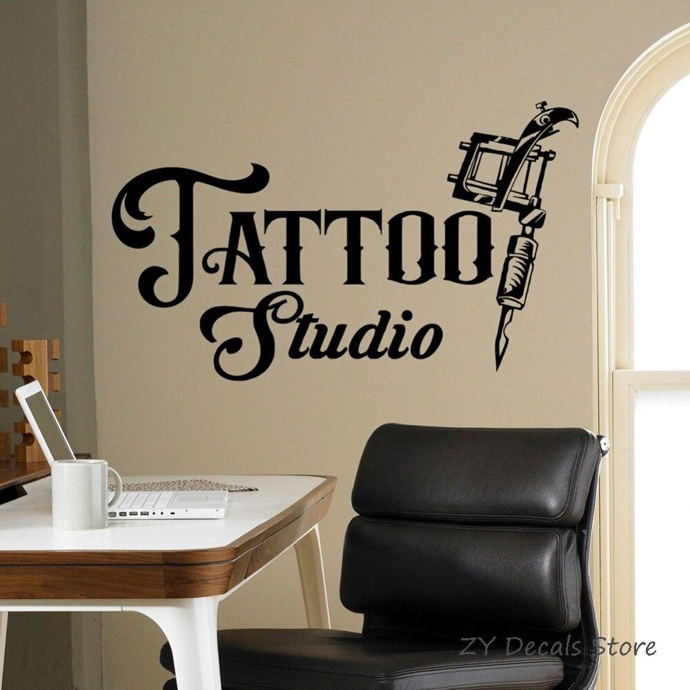 Tattoo Studio Sign Wall Decal Business Logo Poster Vinyl Art Sticker Tattoo Machines Window Stickers Waterproof Wallpaper S709