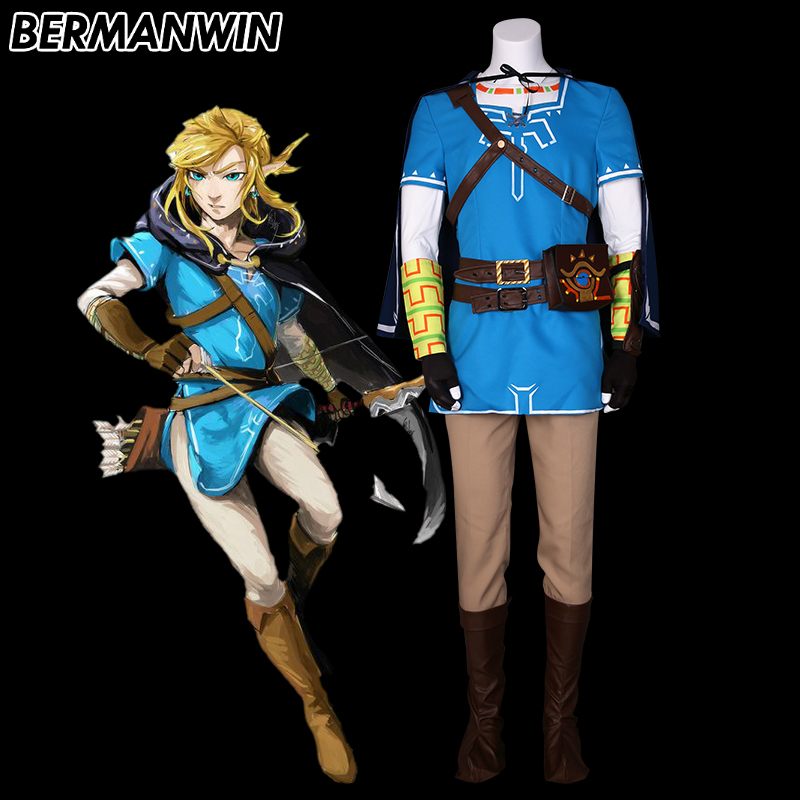 BERMANWIN High Quality The Legend of Zelda Breath of the Wild Link Costume Hot Game Link suit adult Halloween cosplay costume