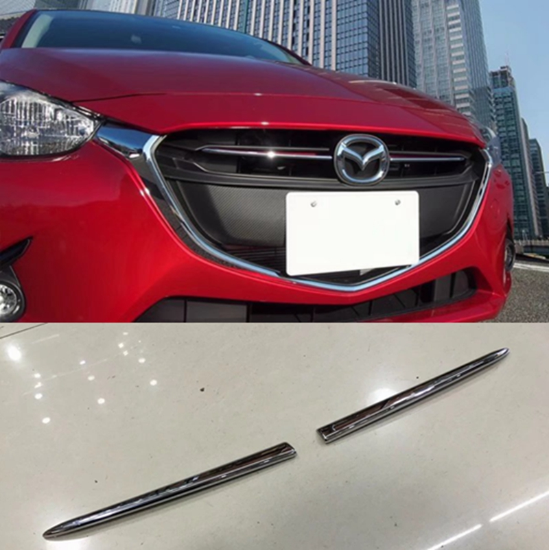 MONTFORD For Mazda 2 Demio 2015 2016 Auto ABS Chrome Front Center Grill Grilles Molding Cover Strip Trims 2Pcs Car Accessories