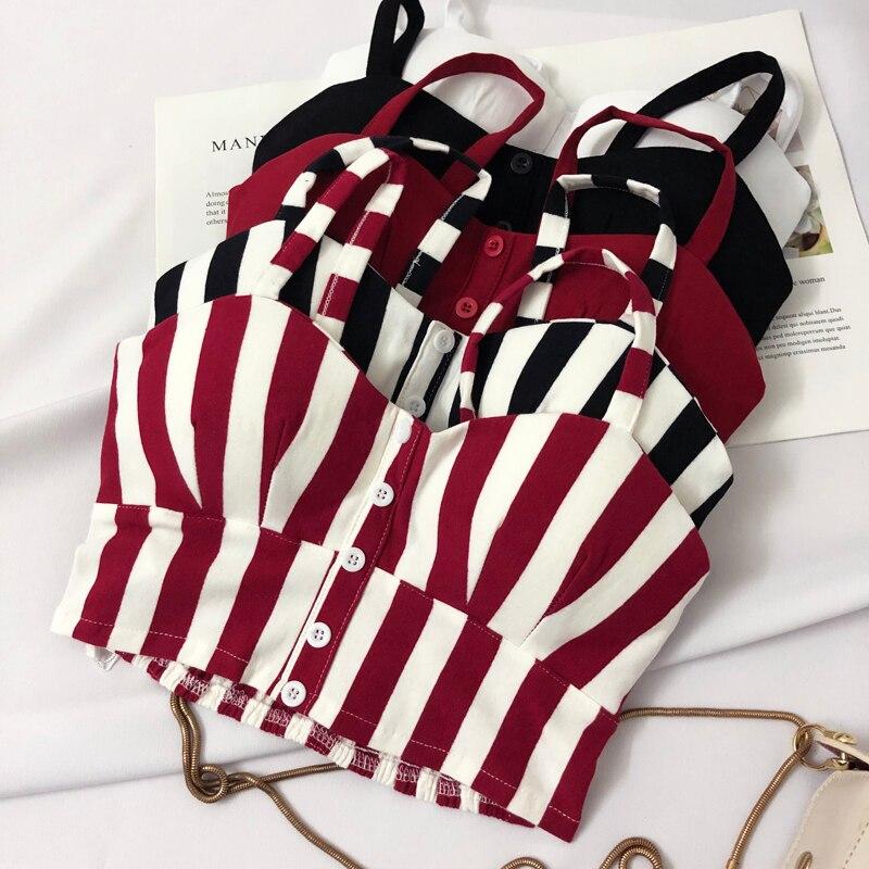 Women Camisole Tops Vest Tank-Top White Stripe Summer Sexy Sleeveless Debardeur Slim