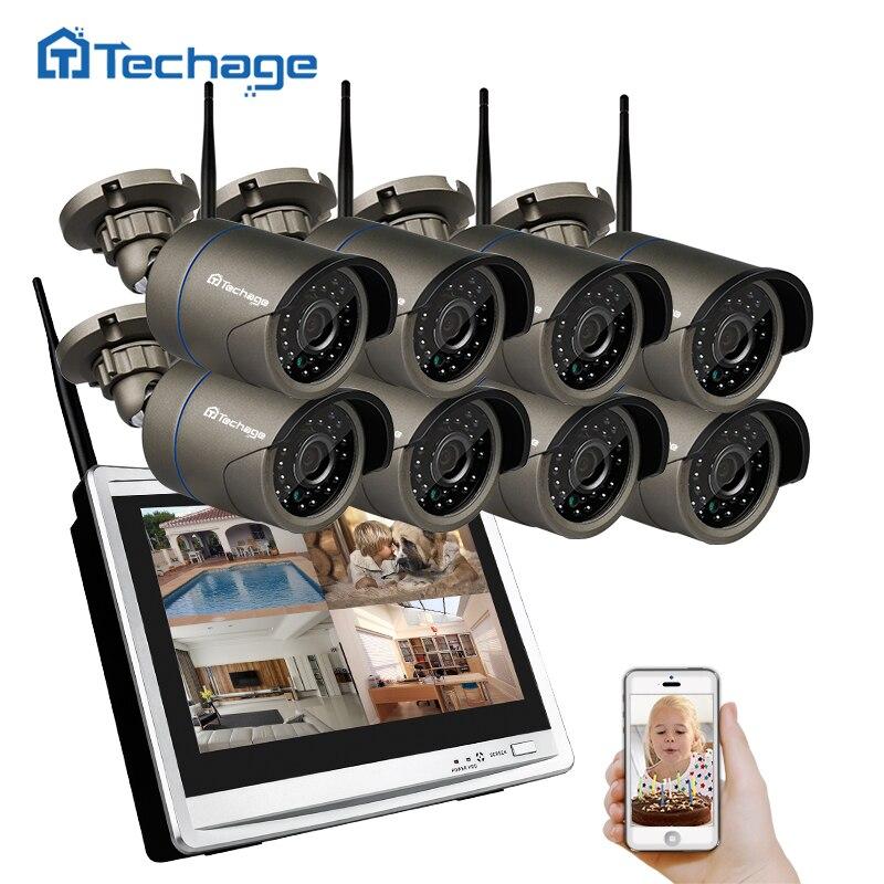 Techage 8CH Wifi CCTV Système LCD Moniteur Sans Fil NVR 960 p 1.3MP Extérieure Étanche Caméra P2P Vidéo Surveillance de Sécurité Ensemble