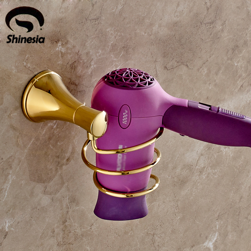 Neu Bad Haartrockner Halter Goldene Poliert Edelstahl Luxus Gebläse Halterung Regal Wand Montiert Gesundheit FöRdern Und Krankheiten Heilen Badezimmerarmaturen Bad Hardware