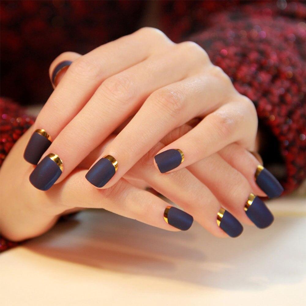 24pcsset Fashion Matte False Nails Pre Design Red Black Blue Matte