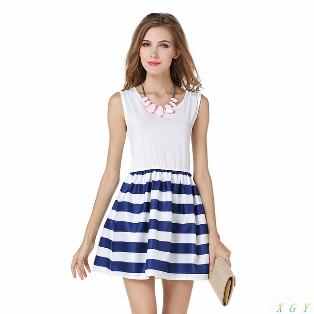 da4fbe3f9574a Summer Sleeveless Blue White Striped Dress Women Dress Navy Sailor Striped  Printed Dress Simple Fashion Dress CC2902
