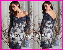 Hot Sell Navy Blue Sexy Off the Shoulder Lace Short Cocktail Evening Dress With Long Sleeves E5360 blue off shoulder stripe pattern blouse with long sleeves