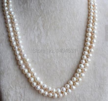 Wholesale Pearl Jewelry – White Color 46 Inches 7-8mm Long Genuine Freshwater Pearl Necklace Wedding Party Jewelry.