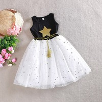 Lovely Princess Kids Girls Stars Sequins Casual Tulle Tutu Bow White Dress XS XL Hot Free