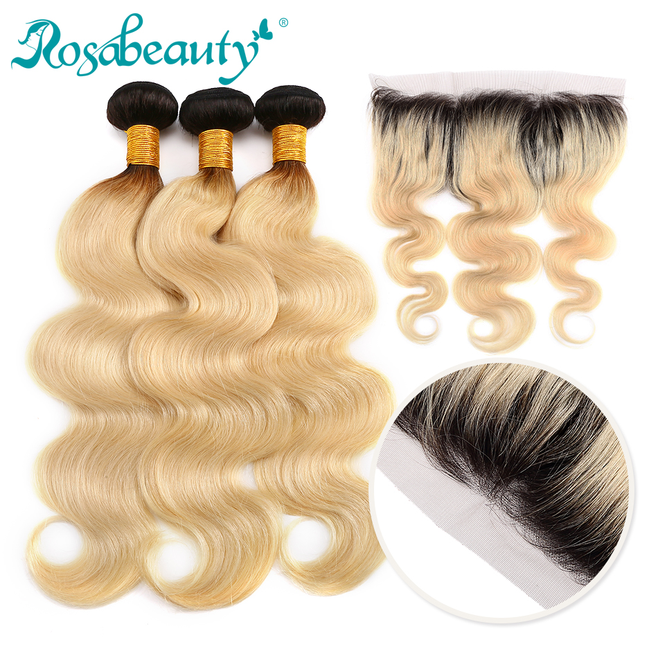 Rosabeauty Ombre Blonde Bundles With Frontal Blonde Body Wave 13x4 Lace Frontal with Baby Hair Remy