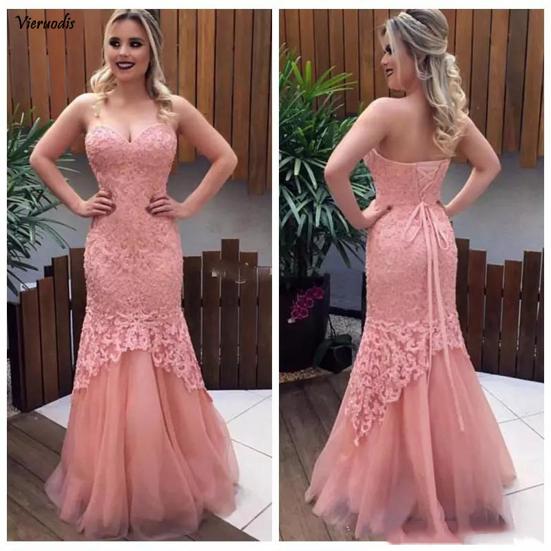 135-1               2019 Sweetheart Lace Slim Mermaid Prom Dresses Floor Length Tulle Skirt Women Evening Party Gowns Customized Vestidos De Soiree Formal