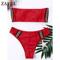 ZAFUL 2018 New Striped Bandeau Bikini Set High Cut Swimsuit Padded Bikini Red Bathing Suit Women