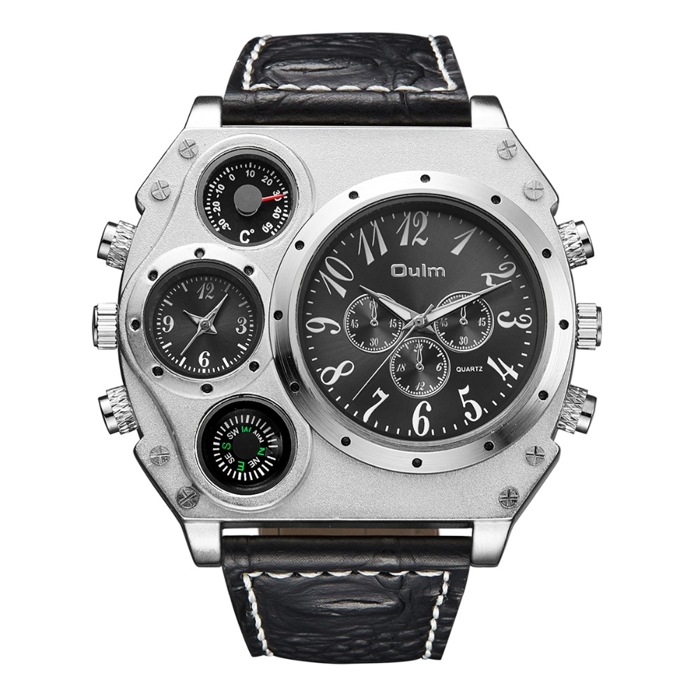 Oulm 1349 Original Men Dual Quartz Movement Sports Military Watch Compass Thermometer Decoration Big Face 5.5cm Hot Brand 2018