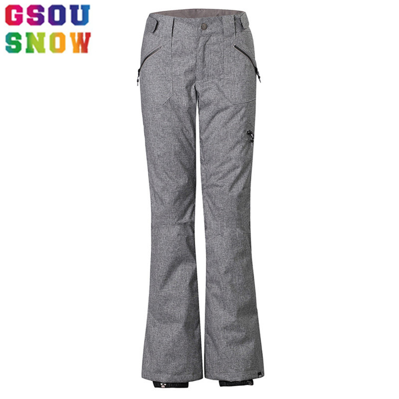 GSOU SNOW Brand Ski Pants Women Waterproof Snowboard Tights Slimming Skis Trousers Winter Outdoor Sport Mountain Skiing Pants 2017 hot sale gsou snow high quality womens skiing coats 10k waterproof snowboard clothes winter snow jackets outdoor costume