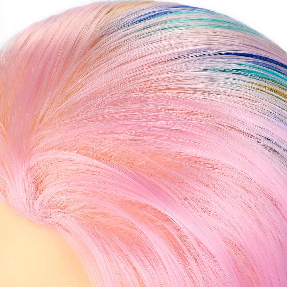 26 ''regenbogen Friseur Ausbildung Kopf Synthetische Haar Salon Styling Flechten Praxis Perücke Kopf + Clamp Mannequin Kopf