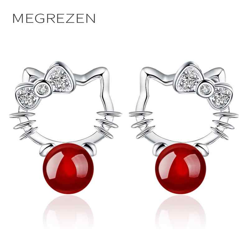Lovely Crystal Stud Earrings for Women Girls Silver Red Eari