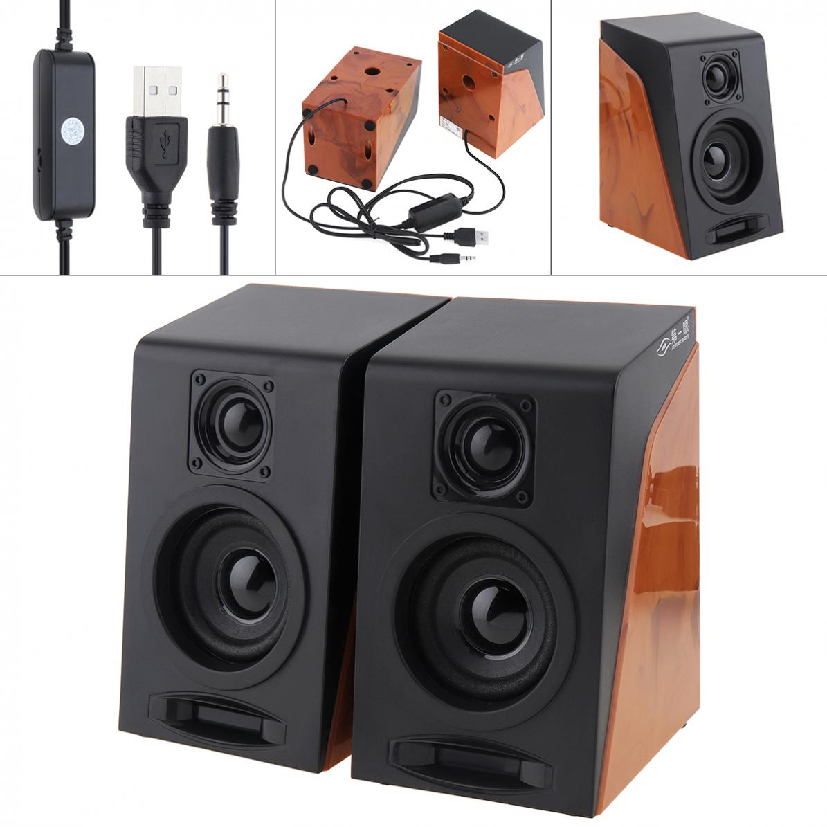Full Antimagnetic 52mm 6W Mini USB 2.0 Computer Wood Subwoofer Speakers with 3.5mm Stereo Jack for PC / Laptop / Phone