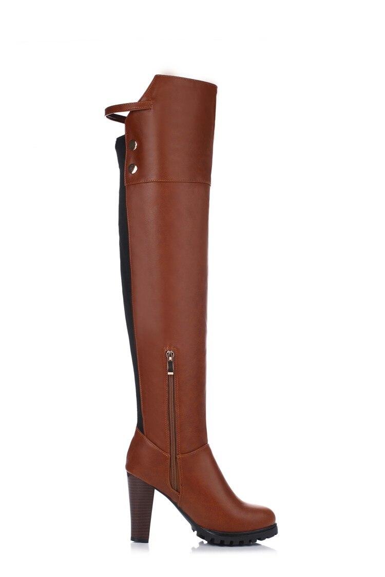 Las 34 Cuero Redonda Invierno 45 T703 Tacones Atractivos Tamaño Mujeres 2016 Punta Botas Tacón Alto De Grande 5 Elegantes Marrón Zapatos rojo Ocio Nuevas w5T5Zpq